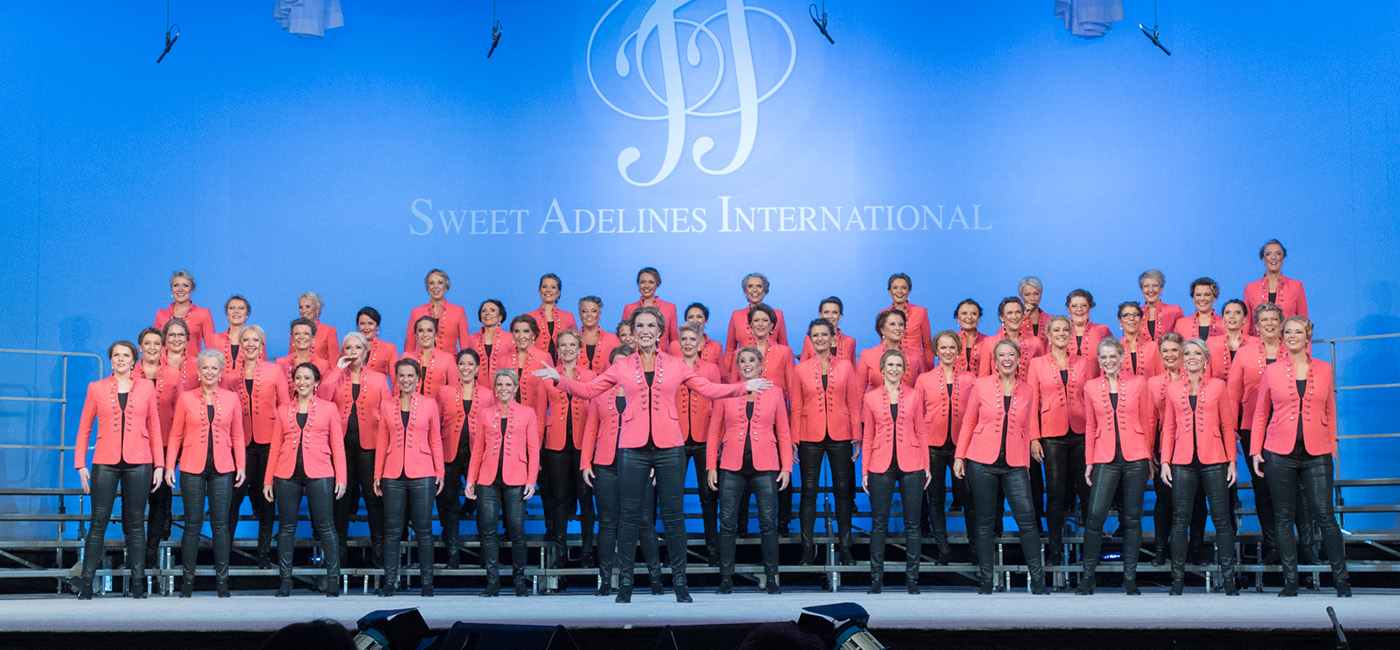 Alba Show Chorus on stage at International Barbershop convention 2018